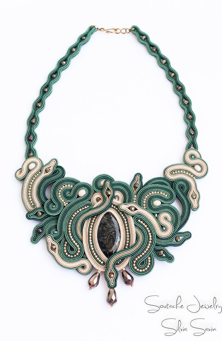 Green and Beige unique handmade soutache necklace