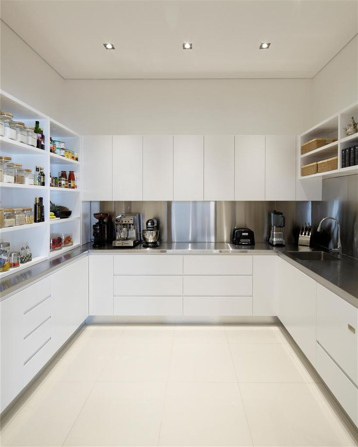 #CamelotHomes | Cobbitty Project - kitchen scullery featuring stainless steel bench tops and appliances, white cabinetry and tiling.  Photograph(s) © Eliot Cohen - Zeitgeist Photography