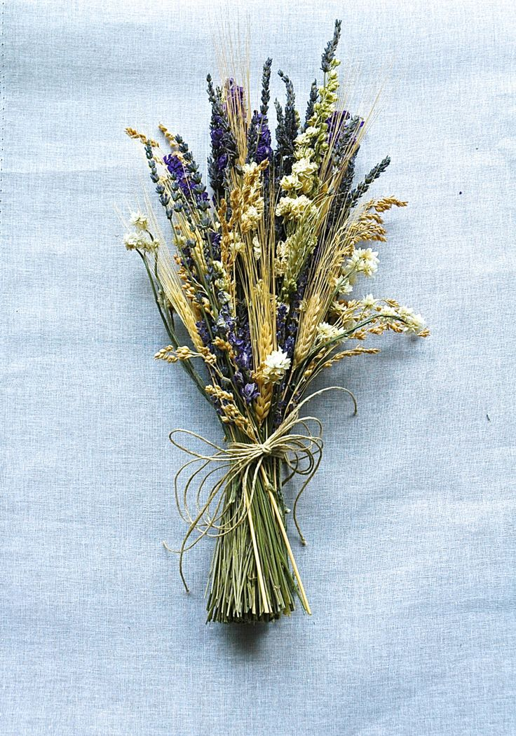 Brides Bouquet of Lavender, Larkspur, Wheat, Grasses and Ivory Dried Flowers