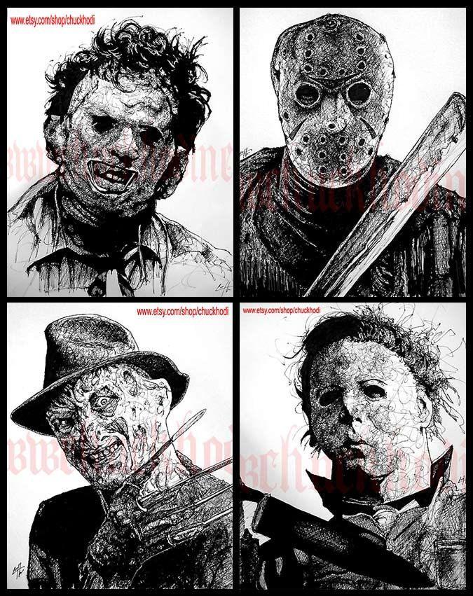 "Print 8x10"" - Leatherface Jason Voorhees Freddy Krueger Michael Myers Horror Movie Characters Vintage Slasher Gothic Scary Spooky Serial Pop. $22.00, via Etsy."