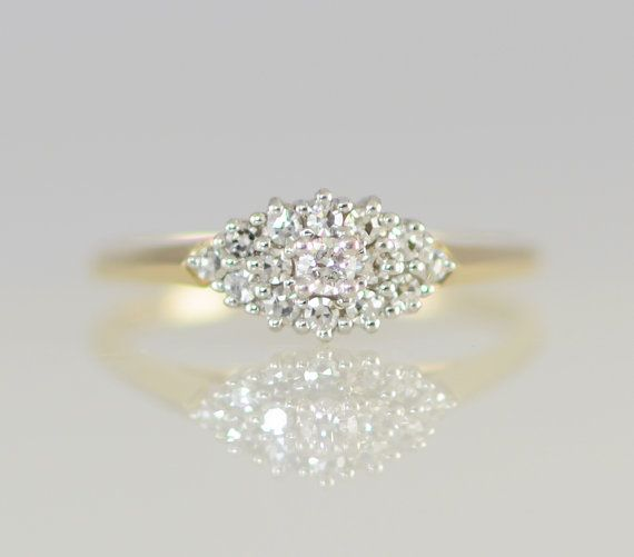 Like yellow gold band, nice teadrop shape, but maybe too understated - Vintage Diamond Cluster Ring 14K Yellow & White Gold