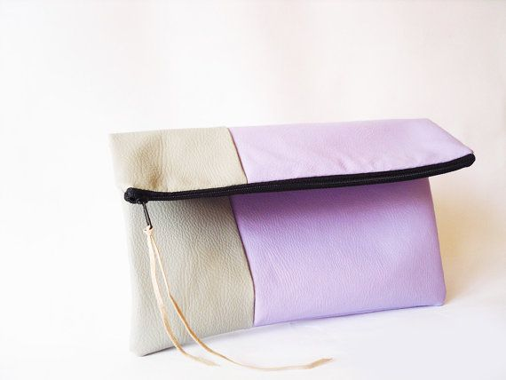Clutch purse Fold over Lavender Lilac  and grey. Pastel by byMART, $32.00