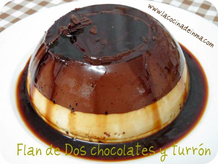 Flan de Dos Chocolates y Turrón (Two chocolates and nougat pudding)
