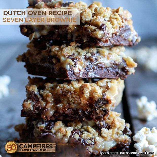 Dutch Oven Seven Layer Brownie - 50 Campfires