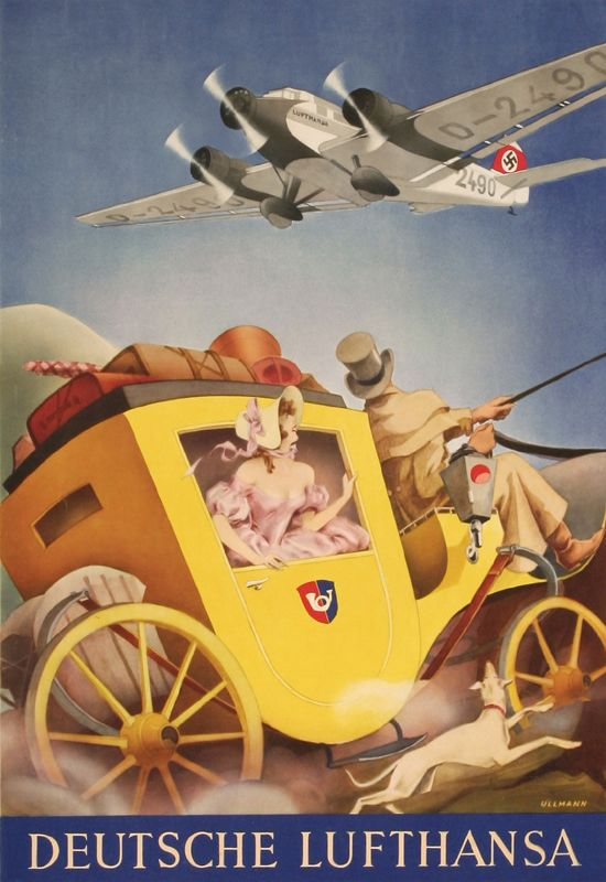 """Deutsche Lufthansa"" by Gayle Ullmann, 1933 A stagecoach and its petticoated passenger are overwhelmed by the vision overhead of a new Junkers JU 52/3M. The corrugated airship, with room for 17, was introduced in 1932 and quickly became the workhouse in the Thirties for Lufthansa, Europe's leading airline."