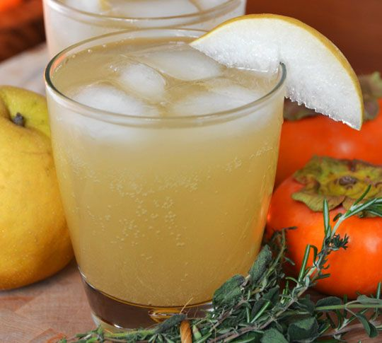Asian Pear Sparkler Makes about 6 drinks  1 cup freshly pressed Asian pear juice*  1 teaspoon lemon juice  3/4 cups honey  1/4 cup sugar  1 (4-inch) sprig fresh rosemary  1 (1-inch) piece fresh ginger, peeled and cut into coins  Small grating of fresh nutmeg  Ice  Soda water