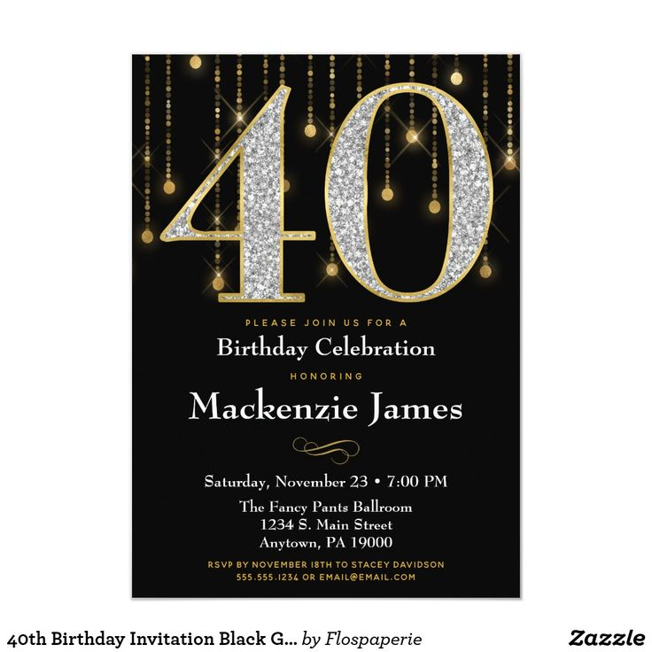 40th Birthday Invitation Black Gold Diamonds Adult