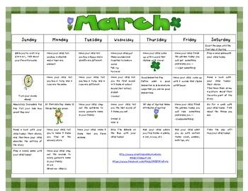 Free March Homework Calendar for Language   A great calendar to send home with parents.   This calendar gives parents easy ways to encourage language and increase language skills at home.  www.creatingcommunicators-mindy.blogspot.ca  Clip art provided by Scrappin Doodles!