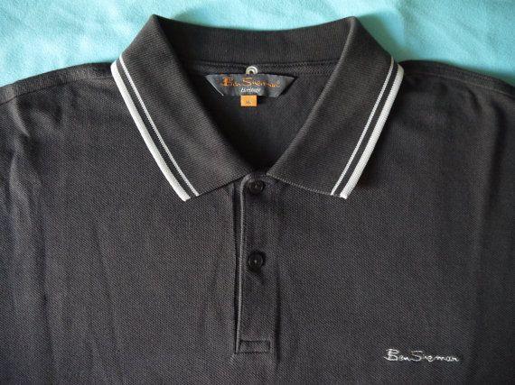 RARE gorgeous vintage brown BEN SHERMAN polo shirt xl size-sportswear men punk brit pop ska marron manches courtes Vêtement homme cool hip