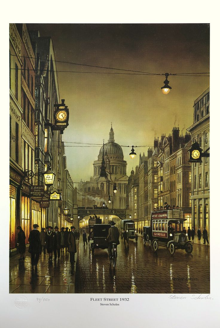 British Art Print - Fleet Street 1932 by Steven Scholes - Limited Edition print signed and numbered by the artist - £24.00 - SimplyBritishGoods.co.uk