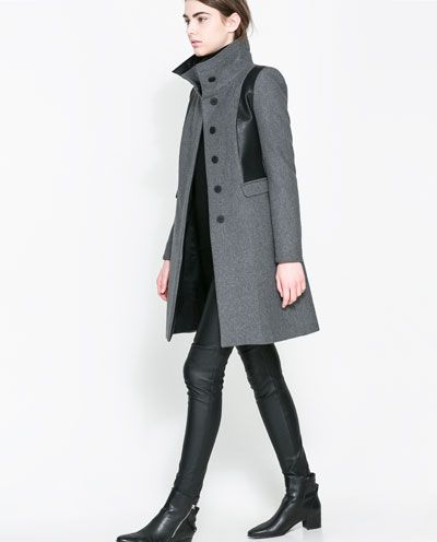Image 3 of COMBINED WOOL COAT from Zara