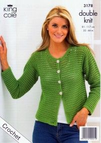 Crochet Boxy Cardigan & Shrug in King Cole Moods DK (3178) | Deramores