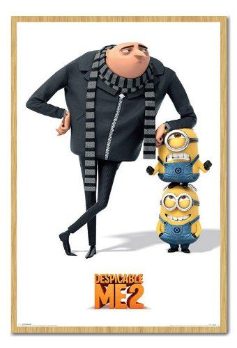 Despicable Me 2 Gru And Minions Poster Beech Framed - 96.5 x 66 cms (Approx 38 x 26 inches) @ niftywarehouse.com #NiftyWarehouse #DespicableMe #Movie #Minions #Movies #Minion #Animated #Kids