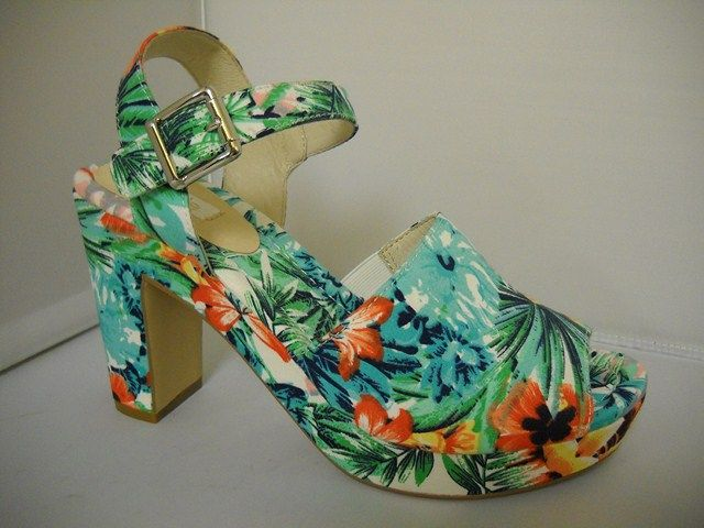 Nude Ascot - W - Nude Ascot. Step out with fresh tropical print for Summer.   Fun sandal  with 10cm  heel and platform front. price 169 NZ$