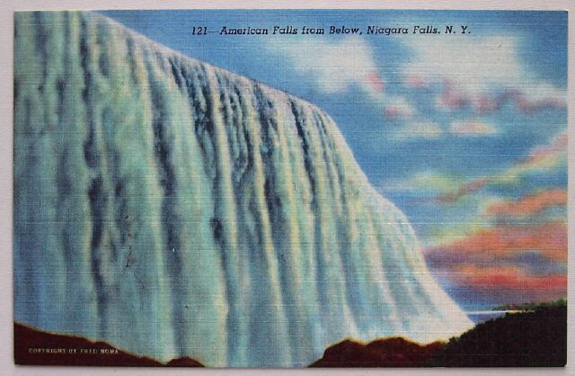 1940's PC American Falls from Below, Niagara Falls, NY Mint unused condition.