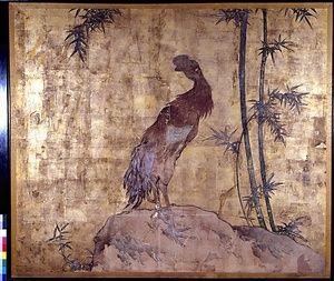 紙本著色軍鶏図 文化遺産オンライン