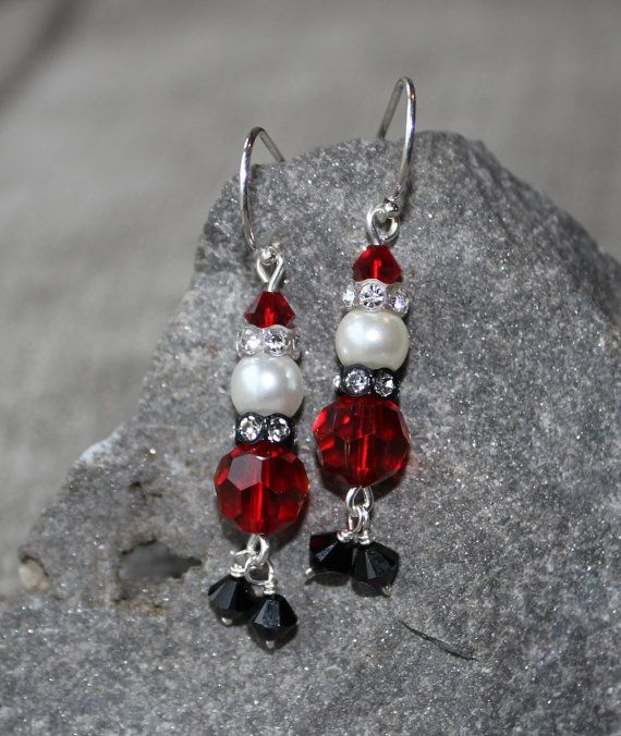 Santa Claus earrings crystal Santa Claus earrings by SomeArtsyName, $16.00