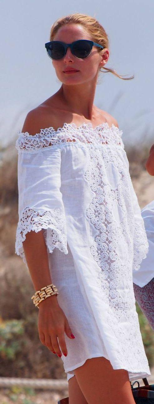 Olivia Palermo White Broderie Off Shoulder Little Dress