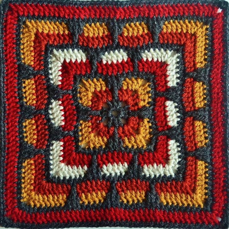 "Larksfoot Inspired 12"" Granny Square Motif By From Home - Free Crochet Pattern - (ravelry)"