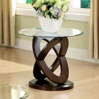 Furniture of America Evalline Round Glass Top End Table
