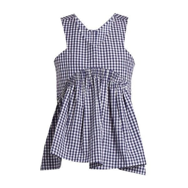 TEIJA V-neck gingham cotton sleeveless top ($372) ❤ liked on Polyvore featuring tops, blue white, flare top, no sleeve tops, sleeveless tops, v neck sleeveless top and smock top