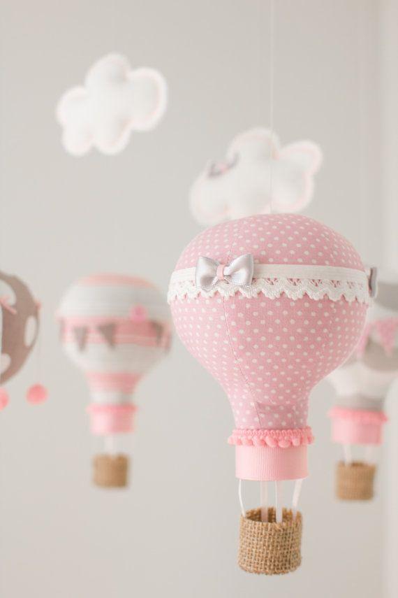 Chaud ballon à Air, Mobile bébé, décoration de pépinière, i97 rose et gris, cadeau de bébé personnalisé,