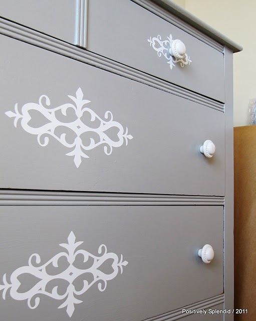 Some paint , stencil and new knobs and you have a new dresser