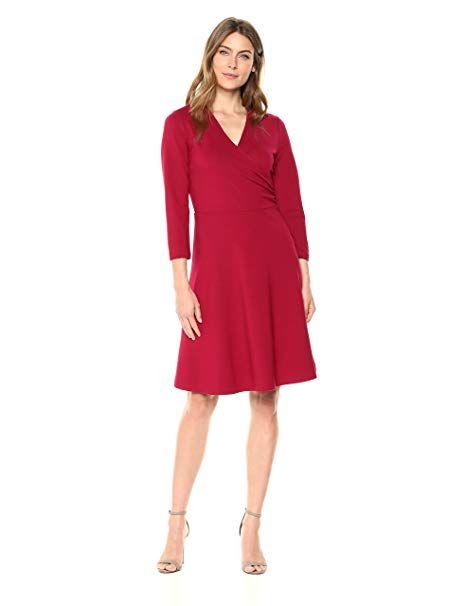 b398bd1706a Lark   Ro Women s Three-Quarter Sleeve Faux Wrap Dress