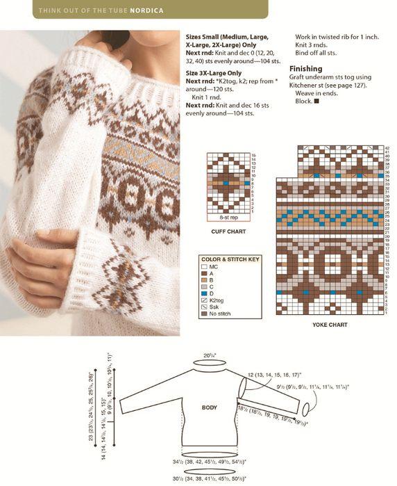 Мобильный LiveInternet Жаккардовый пуловер Nordica by Amy Gunderson. | оскольчанка - Дневник оскольчанка |