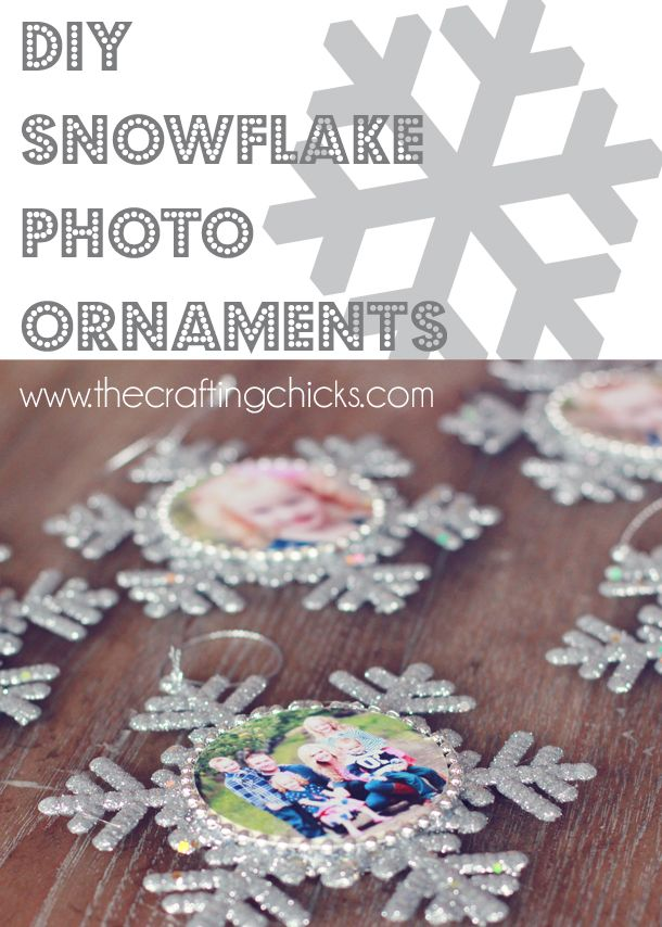 Snowflake Photo Ornaments on www.thecraftingchicks.com...yearly photo w/ year's highlights on back