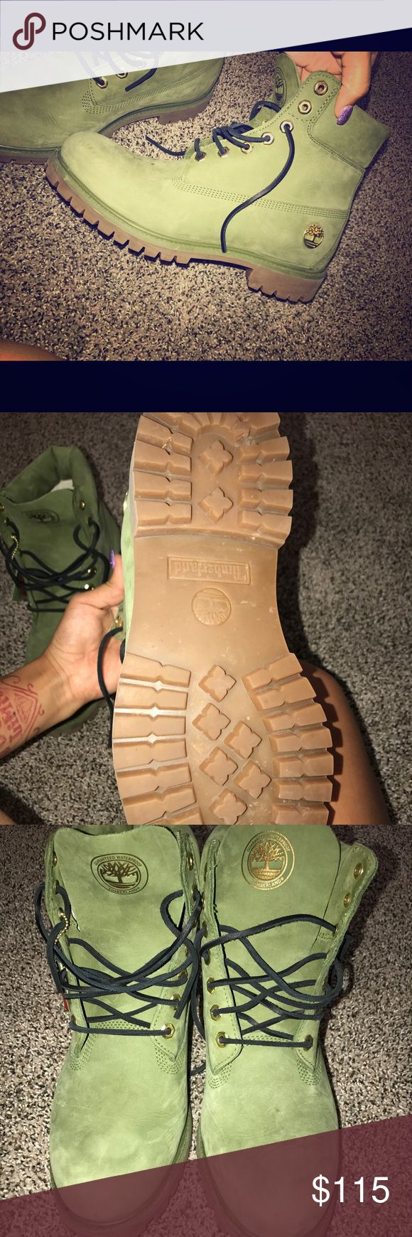 Olive Green Timberlands Size 10M. Only worn once! Still have new shoe smell and look! No dirt or scuff marks. Timberland Shoes Winter & Rain Boots