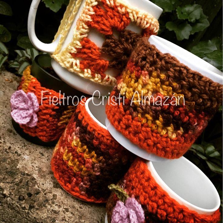Tazones abrigados a crochet! 😍 preparándome para vestir mi nuevo taller de fieltro, telar y mosaico!💕