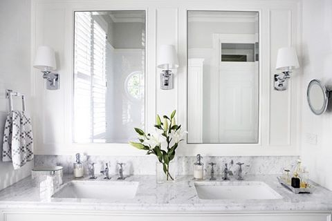 If we ever built again I would definitely make some changes in our bathroom designs including using marble as I originally intended ( budget woes saw an end to that!) and installing shaving cabinets to store all my makeup that currently sits on the bench! - love this one from @highgatehouse -