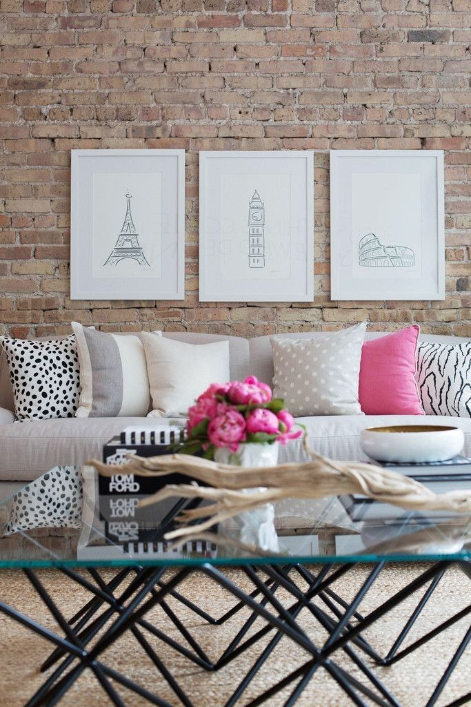 Love these pencil drawings wall art in this living room collage. Pretty and effective.