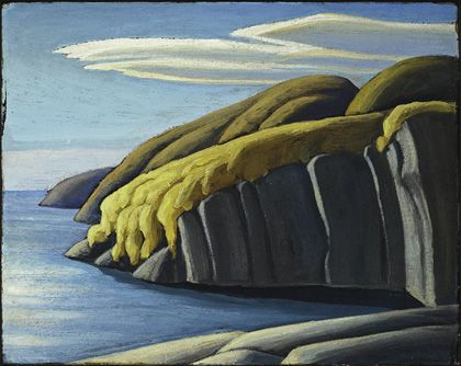 North Shore, Lake Superior, ca.1921 by Lawren Harris (1885–1970). Oil on board, 30.1 x 38.0 cm | McMichael Collection