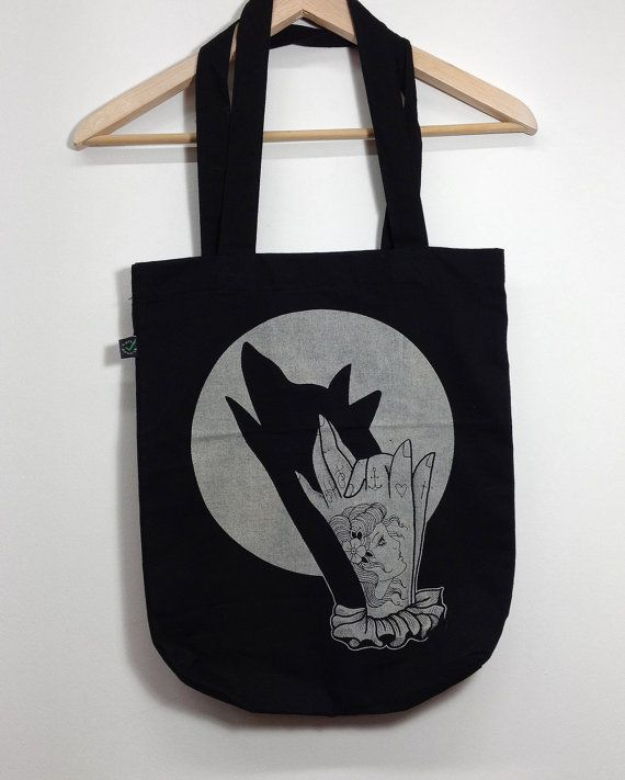 borsa shopper con stampa ombra cinese lupo di HardtimesTattoo