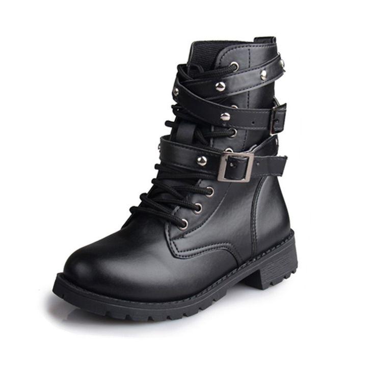 Barato Hot Sale da moda mulheres da motocicleta botas senhoras Vintage rebite combate do exército Punk Goth tornozelo calçados femininos Biker botas de couro de outono, Compro Qualidade Botas diretamente de fornecedores da China: