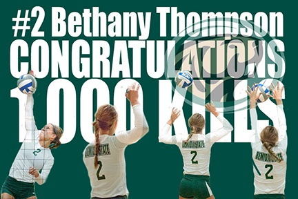 With 17 kills in this afternoon's match at MSU Moorhead, Bethany Thompson became the ninth Bemidji State volleyball player to accumulate 1,000 collegiate kills. Congrats on a tremendous career. Thanks for letting us all be a part of it. GoGreen!