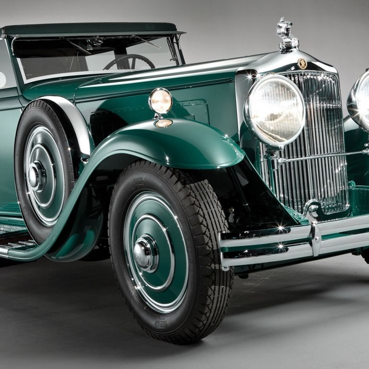 Green retro car