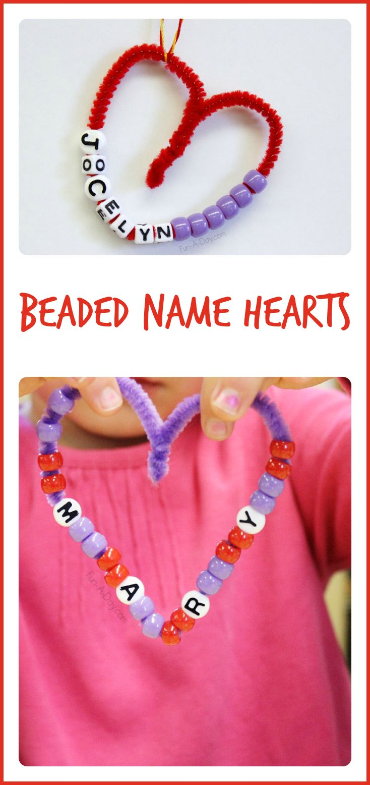 Quick and easy valentine crafts - Beaded Name Hearts I Love How This Simple Valentine Craft Combines Fine Motor Math