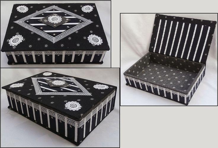 Recyklace staré knihy .Čtvrtá textilem potažená krabice, Vyrobena byla z desek vyřazené knihy..