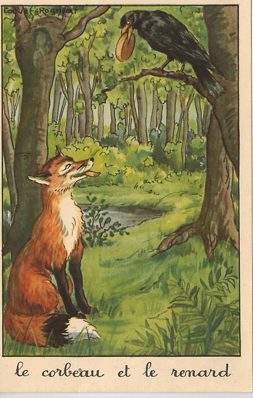Illustration Fable de Jean de la Fontaine - Le corbeau et le renard