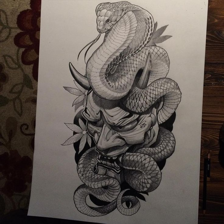 Hand is too sore to finish this tonight. #prismacolor #kingcobra #hannya #irezumicollective