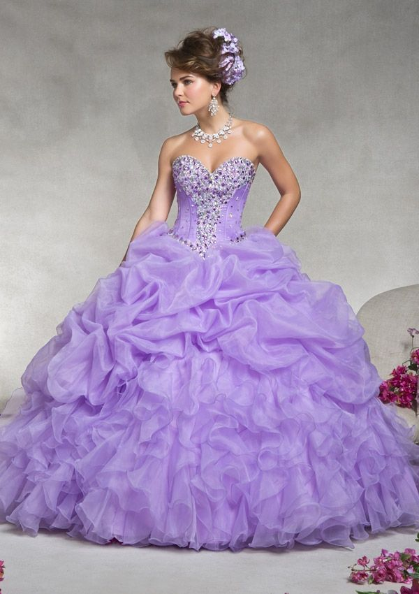 Strapless long organza evening dress in lilac purple with sweetheart neckline, full skirt, & rhinestone beading from Vizcaya By Mori Lee (Style: 88062).