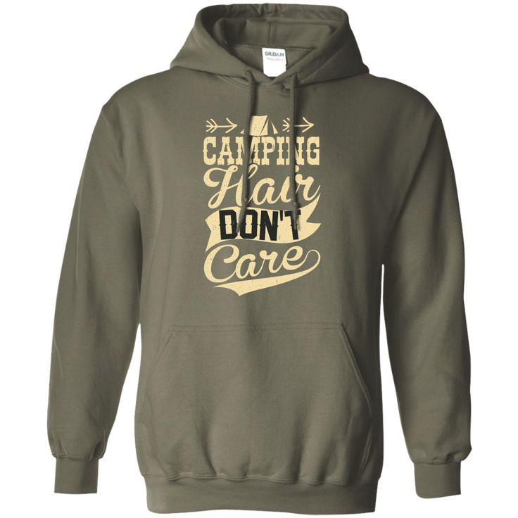 Camping Hair Don't Care Pullover Hoodie 8 oz