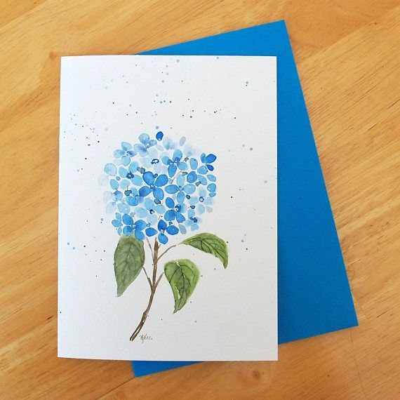 Hydrangea Flower Original Watercolor Greeting Card  Blue