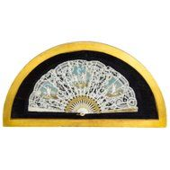 Antique French Hand-Painted Lace Mother Pearl Fan, circa 1880