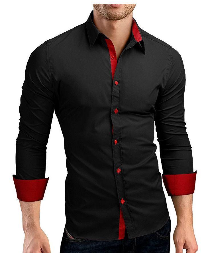 QINGYU Men Shirt Brand 2017 Male High Quality Long Sleeve Shirts Casual Hit Color Slim Fit Black Man Dress Shirts 4XL C936