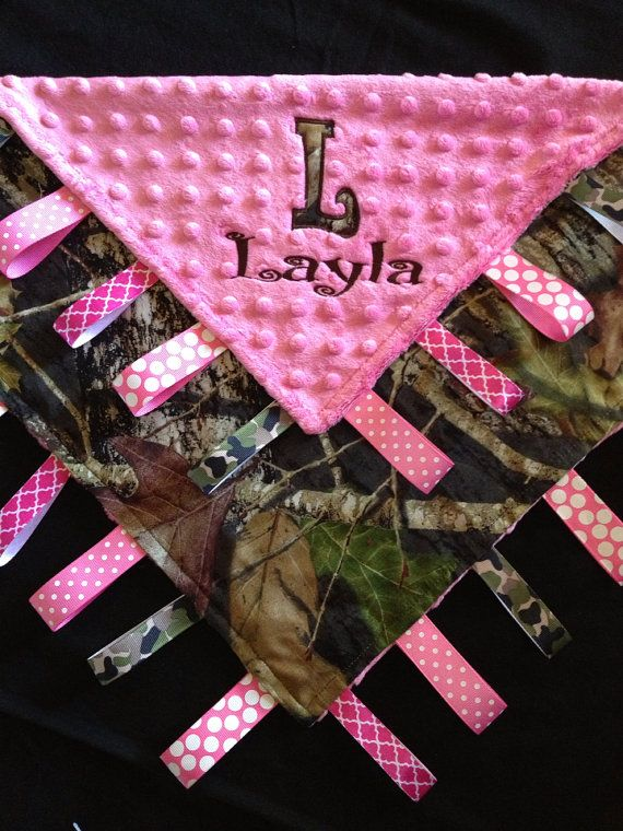 Pink Camo Baby Tag Security Blanket for girl by Tanniesplace, $27.00