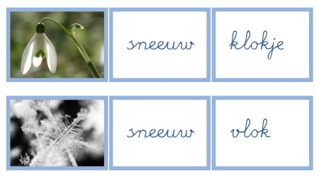 Sneeuw - Werkje samengestelde woorden (cursief & blokletter)
